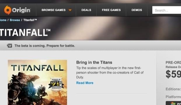 "Origin Store indicates Titanfall ""Beta is coming, prepare for battle"""