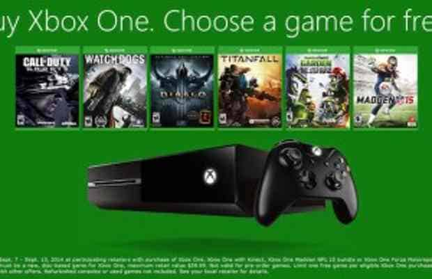 Buy an Xbox One, get a game for free between Sept 7th – Sept. 13th