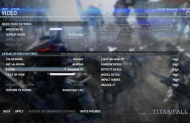 Titanfall PC Video Settings Options revealed