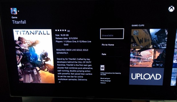 Titanfall Xbox One download is 16.39GB, includes day one update