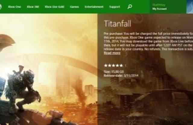 Pre-purchase and pre-loading of Titanfall (now denied) for Xbox One – UPDATE: You can't