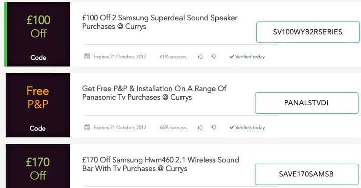 Currys discount codes